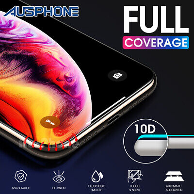 iPhone 11 Pro X XS Max XR 10D FULL Cover Tempered Glass Screen Protector Apple