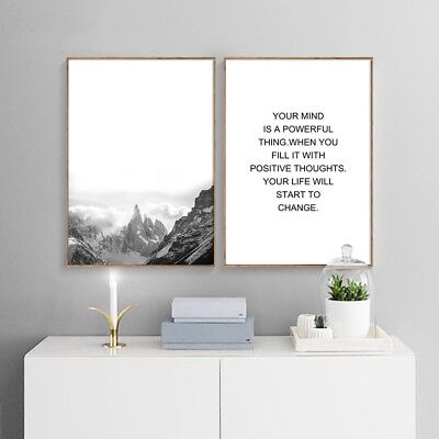 Mountains Landscape Canvas Poster Motivational Nordic Wall Art Print Home Decor