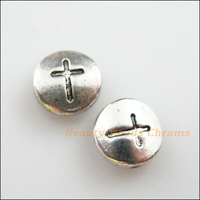 6Pcs Tibetan Silver Tone Round Cross Flat Spacer Beads Charms 10mm