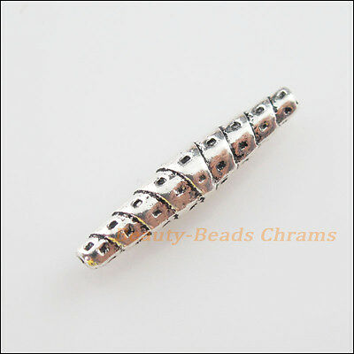 8Pcs Tibetan Silver Tone Screw Cone Spacer Beads Charms 5x25.5mm