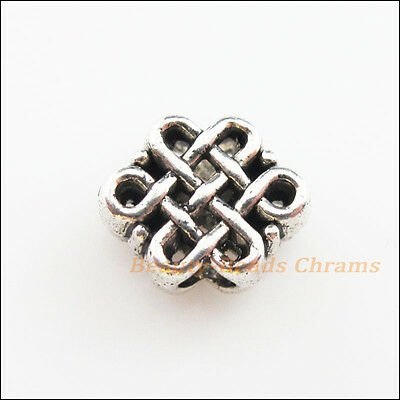 8Pcs Tibetan Silver Tone Chinese Knot Spacer Beads Charms 9x11mm