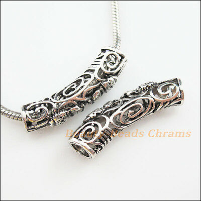 2Pcs Tibetan Silver Tone Flower Elephant Tube Spacer Beads Charms 12x43mm