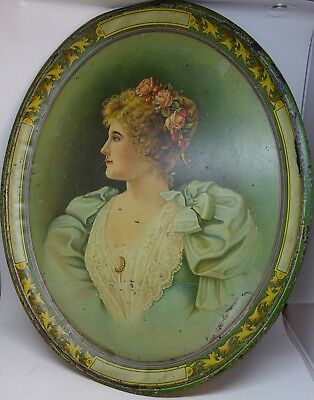 Pretty Lady Roses Litho Advertising Sample Tray Vintage Decorative Victorian