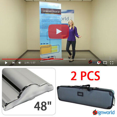 "Retractable Roll Up Banner Stand Height Adjustable Display Sign HD 48"" 2 PCS"