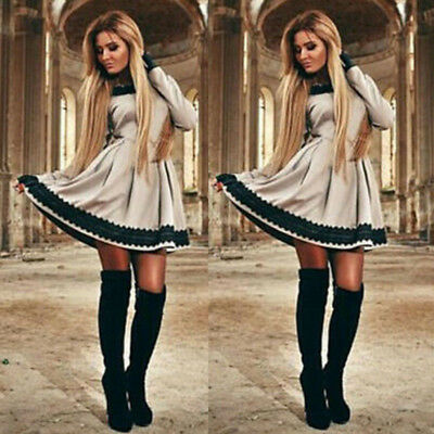 Womens Long Sleeve Lace Bodycon Short Mini Dress Evening Party Cocktail Casual