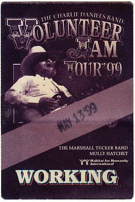 Charlie Daniels Band Original 1999 Volunteer Jam Tour  Working Backstage Pass
