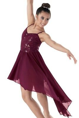Dance Costume Medium Child MC Burgundy Weissman Lyrical Solo Competition Pageant
