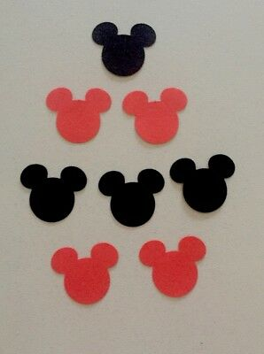 50 x Mickey Mouse Paper Punchies - Red/Black - Disney Scrapbooking Confetti