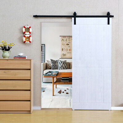 6.6 FT Sliding Door Barn Hardware Track Kit Closet Antique Country Style Black