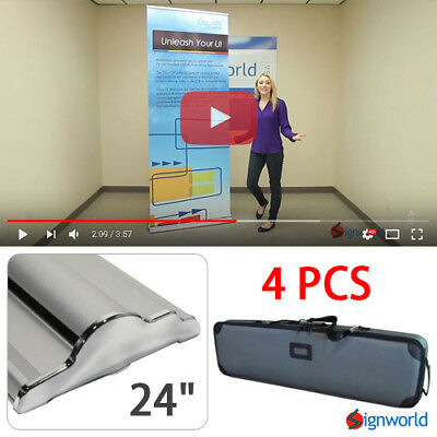 "Retractable Roll Up Banner Stand Height Adjustable Display Sign HD 24"" 4 PCS"