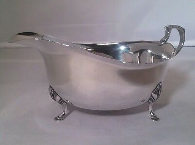 Vintage  solid silver sauce boat Walker and Hall Sheffield 1947