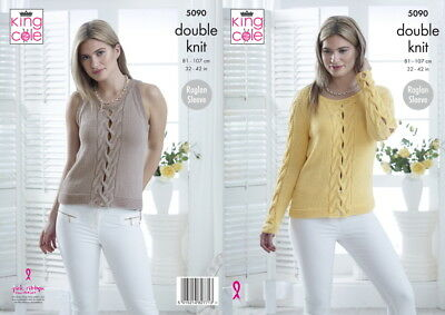 94f5b9c42 King Cole 5090 dk Knitting Pattern Ladies Sweater   Top in bamboo wool