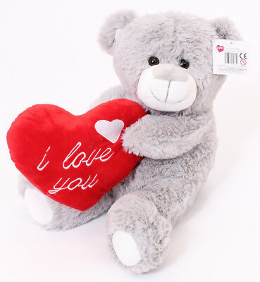 "16"" Large Grey Teddy Bear Mothers Day I Love You Plush Gift Girlfriend Boyfriend"