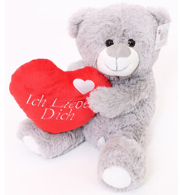 """16"""" Large Grey Ich Liebe Dich Teddy Bear Mothers Day Love You Gift German"""