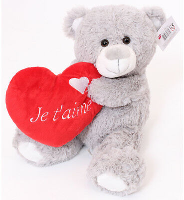 """16"""" Large Grey Teddy Bear Je T'aime Valentines Day I Love You Plush Gift French"""
