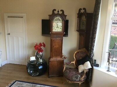 Antique Oak And Mahogany Grandfather  clock with a difference  is working