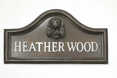 Bronze Finish King Charles Spaniel Dog Arched House Name Plaque