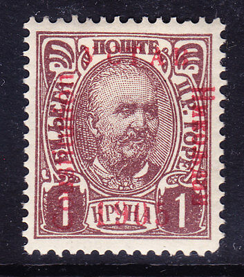 MONTENEGRO 1906 SG126cb opt Coustitution (u forn) on 1k purple-brown m/m Cat £55