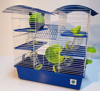 Abby Large Blue & Lime 3 Storey Hamster Cage - Small Animal Cage 48 x 46 x 29 cm