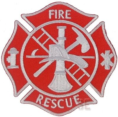"Firefighter Fire Rescue Patch Maltese Cross FIRE RESCUE 3.5"" Red Silver"