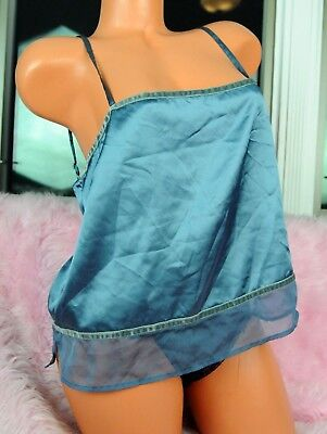 VTG Victoria's Secret Sissy Blue Satin Sexy Velvet Trim Camisole Nightie Top L