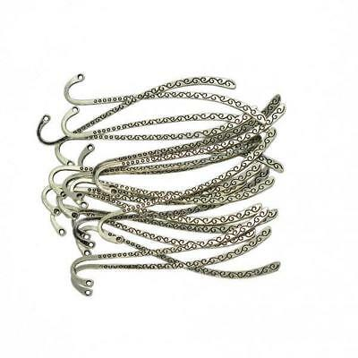 40pcs Antique Silver Carved Hook Bookmark Charms Beads Findings Fit Beading