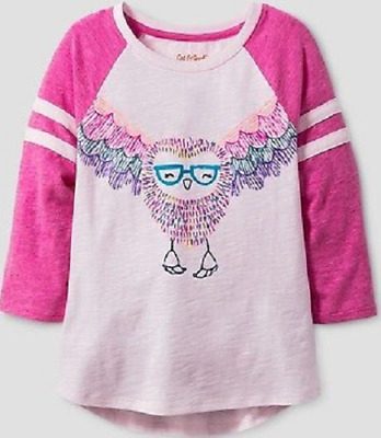 Cat & Jack Girls Pink Long Sleeve Owl Top Size XL (14/16). Brand New. Free Ship.