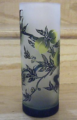 Vtg Cameo Spill Vase Overlay Art Glass w/ Peach Boughs Chinese Caligraphy