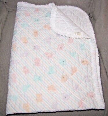 Vintage Baby Sears Pastel Stripe Blanket Duck Teddy Bear Sheep Lamb Pig Bunny