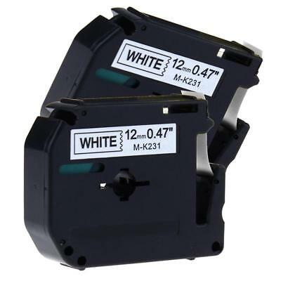 2PK Brother P-Touch M Tape MK-231 M-K231 12mm Black on White Label Tape