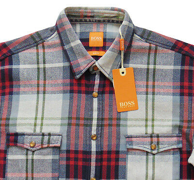 93a46ba81 Men's HUGO BOSS ORANGE Western Plaid Flannel Shirt S Small SLIM FIT NWT NEW