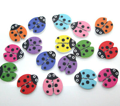 100pcs Mult-color Wood Buttons Cute Ladybug 2-Holes Craft Decoration 18mm*16mm