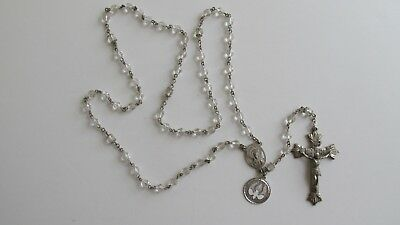 Vintage Antique Creed Sterling Silver Capped Crystal Glass Rosary Beads Prayer