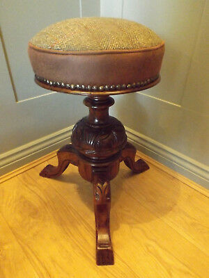 A Mahogany Victorian Adjustable Piano Stool Newly Upholstered