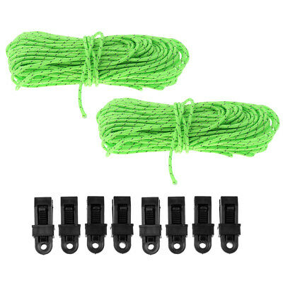 2pcs Reflective Guyline Canopy Tent Rope Guy Line Camping Paracord w/ Clamps
