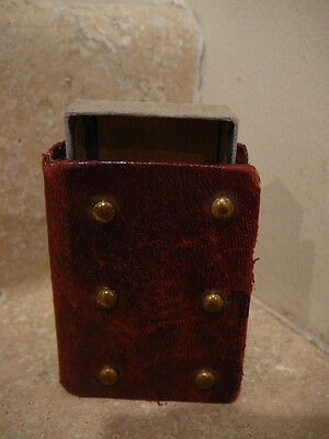 S25 Antique Vintage Leather Pocket Match Safe Holder Box Brass Buttons