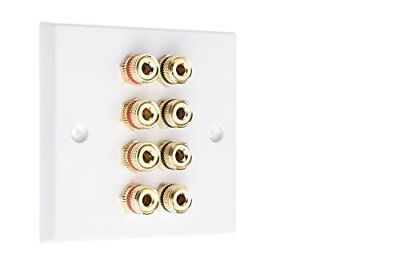 4.0 1 Gang Surround Sound Speaker Wall Plate with Gold Binding Posts NO REQUIRED