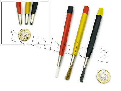 3pc Retractable Fibreglass Brass Steel SCRATCH BRUSH PEN SET Rust Dirt Cleaning