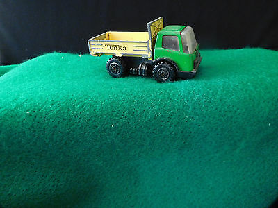 Vintage Tonka Pressed Steel Construction Green and Yellow Dump Truck