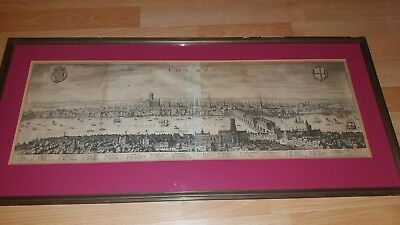 Antique Panorama View of London Rare Map  Mathäus Mattheus Merian ca. 1650