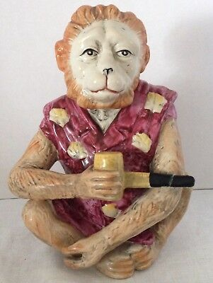 Vintage Ceramic Monkey Figurine With Pipe Wearing Cool Smoking Jacket Chimp