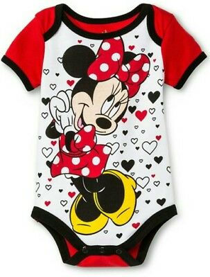 Disney Baby Girls Minnie Mouse Bodysuit Romper Snapsuit Red Hearts 3 6 9 Months
