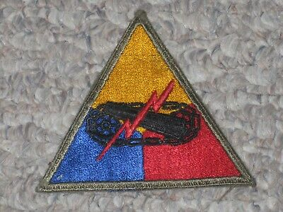 WW2 US Army Armored Forces Headquarters Unassigned Patch WWII Cut Edge