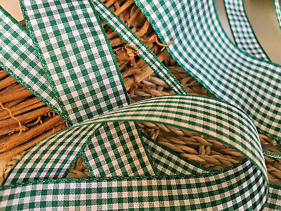 ~Bows Ribbon and Lace~Berisfords UK Gingham Ribbon Shade 455 Hunter Green
