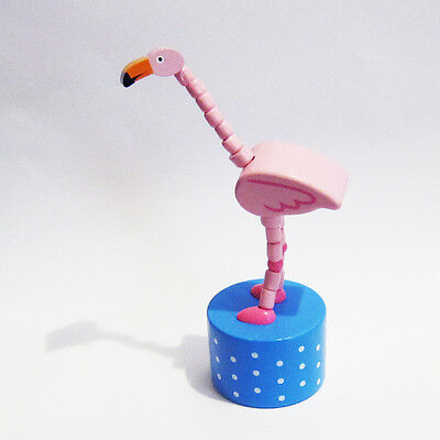 Classic Wooden Toy Push Puppet Light Pink Flamingo Bird Florida Lawn Ornament
