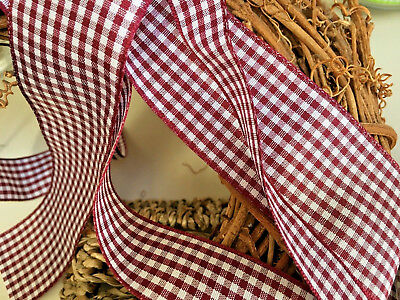 ~Bows Ribbon and Lace~Berisfords Gingham Ribbon Shade 405 Burgundy Choose Width