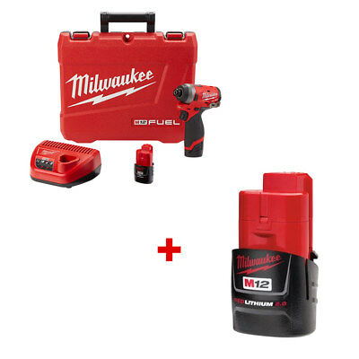 "Milwaukee 2553-22 M12 FUEL 1/4"" Hex Impact Driver Kit with FREE 2.0 BATTERY"