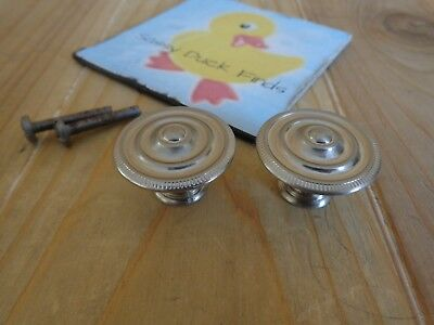 VINTAGE DRAWER KNOBS Set of 2 Silver Aluminum Ribbed Cabinet Handles