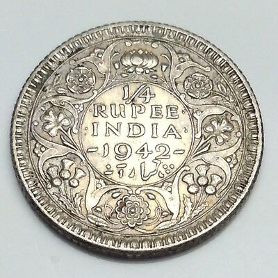 1942 India 1/4 One 1 Quarter Rupee King George Indian Circulated Coin D814