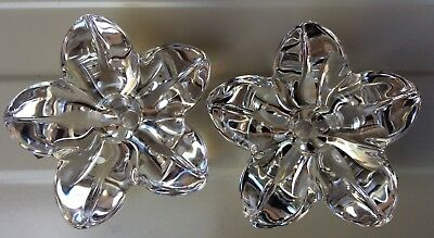Pair of Orrefors crystal candle holders signed OF on base Scandinavian art glass